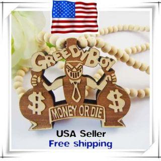 greedy boy Pendant Black Ball Bead Chain Hip Hop ball Necklace USA