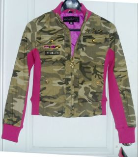 Baby Phat Jacket Pink Rib Military Twill Lined NWT New size Medium Med
