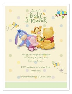 Baby Shower Baby Pooh Party Invitations