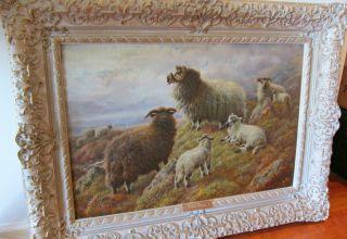 Original Signed Oil Painting by Robert Watson British Highland Sheep