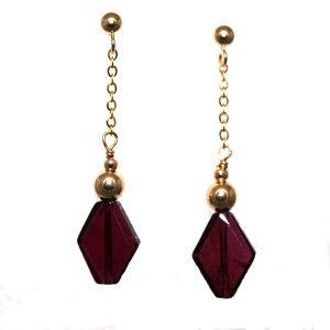 Gold Natural Diamond Shape Garnet Gold Bead Ball Dangle Earring