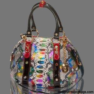 Orlandi Italian Designer Rainbow Python Leather Swarovski Purse