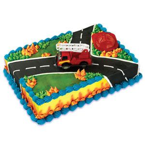 Fireman Red Fire Truck Bakery Supplies Cake Topper Kit
