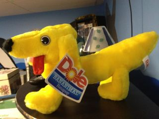 Dole Bananimal Bananapup Stuffed Plush Banana Shaped Dog NWT