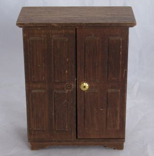 VINTAGE MINIATURE DOLL FURNITURE WOODEN WARDROBE with drawers and