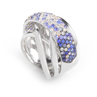18K White Gold Diamond Sapphire Band Ring