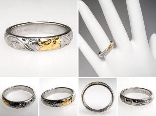 Ladies Hawaiian Band Floral Ring Platinum & 18K Gold skuwm7958