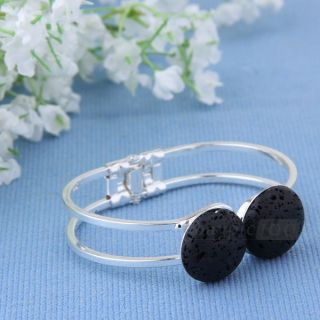 Black Round Lava Stone Bangle Cuff Bracelet Women Fashion