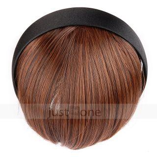Trendy Sweet Lady Girls Neat Bangs Fringe Wigs Headwear Headband Hair