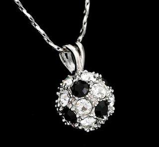 Round Cut Lab Diamond White Black Large Soccer Ball Pendant Necklace