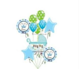 Welcome Baby Balloons Baby Shower Lime Blue Boy Party