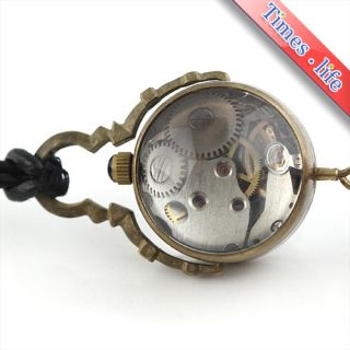 Mens Crystal Ball Necklace Pendant Watch Mechanical Leather Unisex