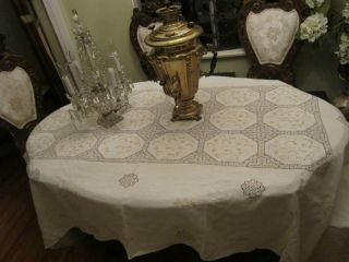 French Punch work Embroidery White Linen Banquete Table Cloth 66x104