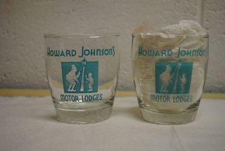 vintage Howard Johnson motor lodge drinking glass 8oz set of 2
