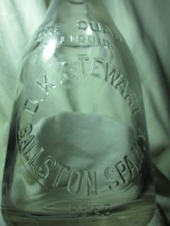 1930 D K Stewart Ballston Quart Milk Bottle Spa NY New York