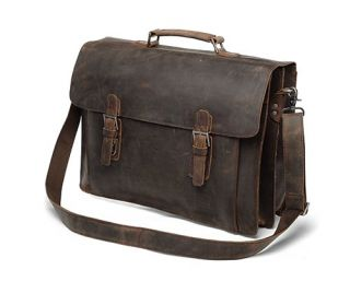 Leather Briefcase Double Gussets Messenger Bag Laptop Case New