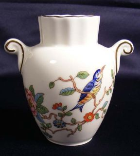 AYNSLEY VICTORIAN Pattern SMALL BUD VASE WHITE w BLUE BIRD & FLOWERS