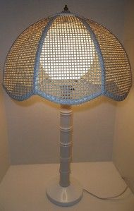 60s 70s Mod Hollywood Regency Wicker Rattan Bamboo Style Table Lamp