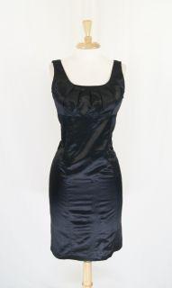 New Banana Republic Black Pleated Sheath Cocktail Silk Dress Size 8 P