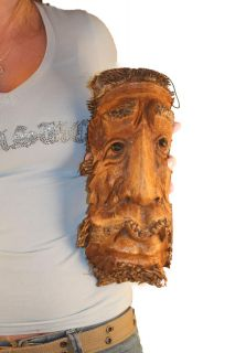 Mask Face Funny Fairy Tales Long Beard Hand Carved Bamboo Root