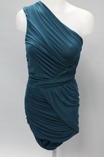 Bailey 44 Teal Blue Sleeveless One Shoulder Ruched Grecian Dress Sz s