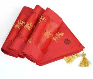 Red Bamboo Satin Table Runner Wedding Decoration