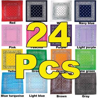 24 Cotton Lot Wholesale Bandanas Set Random Colors 22x22 Head Wrap