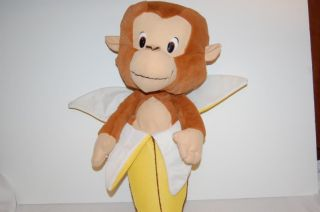 Soft Brown Monkey Inside Yellow Banana Stuffed Animal Lovey Toy