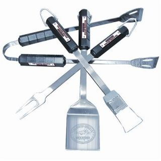 GHH BBQ Tools Stainless Steel Polished Busted Knuckle Logo Set of 4