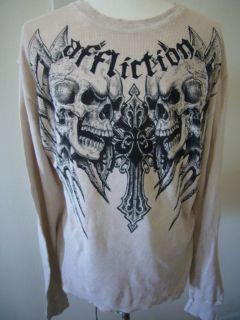Men Affliction Live Fast Skull Longsleeve Thermal Shirt