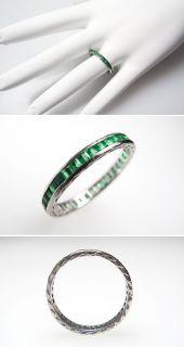 Vintage Emerald Eternity Wedding Band Ring Solid 18K White Gold