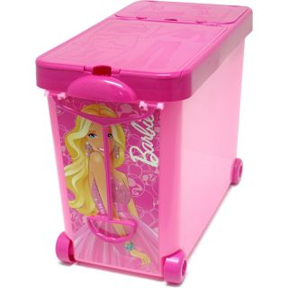 Barbie Store It All Pink Carry Case Storage Tote Bin on Wheels New NIP