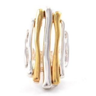 Big Art Deco Stretch Ring Long Two Tone Ba Matte Silver Gold Tones