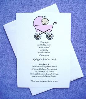 Personalized Custom Baby Girl Announcements Invitations Cards