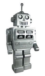 metallic silver 1960 s robot piggy bank coin money