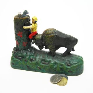 Buffalo Collectors Die Cast Iron Mechanical Coin Bank