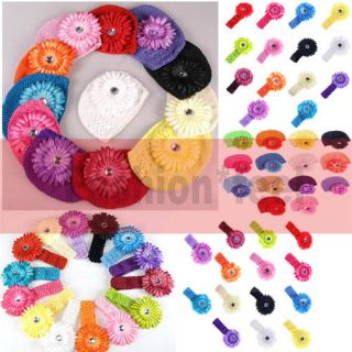 Color★ Baby Boy Girl Crochet Beanie Hat Caps Hair Flower Clip