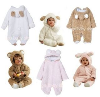 Baby Winter Costume Fleece Snow Suit Romper Rabbit Sheep Bear 6M 3yrs