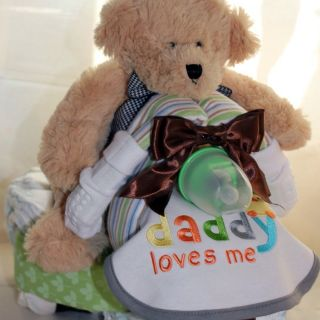 Custom Diaper Trike Cake Bear Neutral Gift Baby Shower Diaper Cake