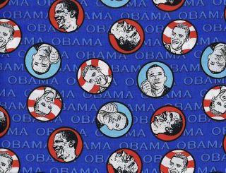 Quilt Quilting Fabric USA President Barack Obama Blue