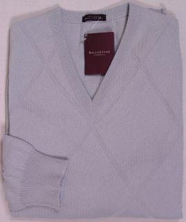 Ballantyne Sweater $990 Gray 100 Cashmere V Neck Jumper Large 52E New