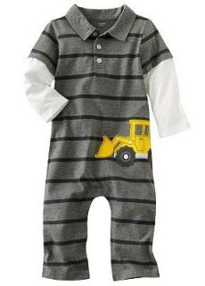 Carters Baby Boy Clothes Coverall Gray Car Stripes 3 6 9 12 18 24