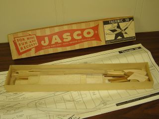 VINTAGE BALSA WOOD MODEL KIT JASCO THERMIC 50 TOWLINE GLIDER AIRPLANE
