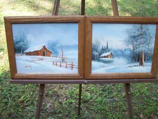 Original Oil PAINTINGS  SMKY MTN WINTER Barn/Landscape Art