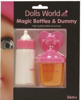 Dolls World Baby Magic Milk Bottle Juice Feeding Cup and Dummy Set New