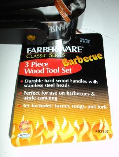 Farberware Barbecue Wood Tool Set Turner Tongs Fork New
