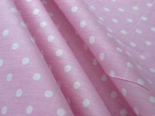 BABY PINK + SMALL WHITE POLKA DOTS COTTON BLEND SEWING FABRIC MATERIAL