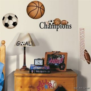 Play Ball All Star Sports Boys Vinyl Wall Sticker Decal