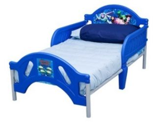 Toddler Bed Frame Boys Blue Kids Childs Size Safety Rails Crib