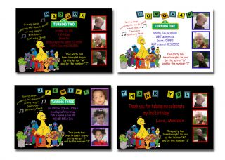 Custom Alphabet Blocks Sesame Street & Elmo Birthday Invitations
